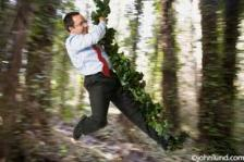 man swinging vine